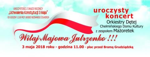 Chełmno -baner uroczystości przy Grobie Nieznanego Żołnierza  w rocznicę uchwalenia Konstytucji 3 Maja  oraz uczczenie Święta Flagi